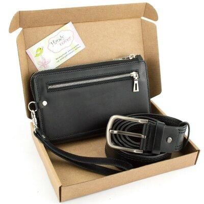 Подарочный набор 34 Мужской клатч ремень черный