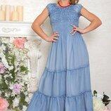 Джинсовое длинное платье сарафан