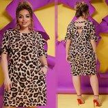 Платье Модель 285 Ткань софт принт Размеры 50-52, 54-56, 58-60, 62-64 Цвета леопард, зебра