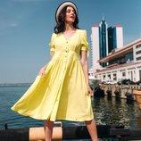 Женское летнее платье свободного фасона ткань жатый хлопок микс цветов скл.1 арт. 54774
