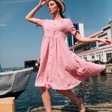 Женское летнее платье свободного фасона ткань жатый хлопок микс цветов скл.1 арт. 54773