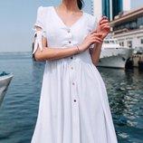 Женское летнее платье свободного фасона ткань жатый хлопок микс цветов скл.1 арт. 54772