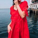Женское летнее платье свободного фасона ткань жатый хлопок микс цветов скл.1 арт. 54771