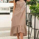 Женское летнее платье из натурального лена микс пастельных тонов скл.1 арт.54762