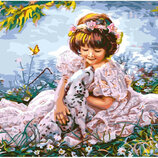 Картина По Номерам. BRUSHME Девочка С Далматинцем GX8553