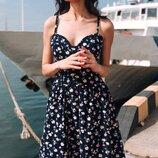 Женское платье сарафан с принтом ткань софт горох цветы скл.1 арт.54780