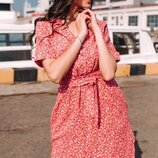 Женское цветочное натуральное льняное платье скл.1 арт.54785