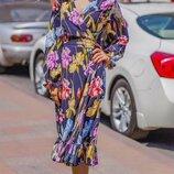 Женское летнее платье на запах ткань софт принт цепи и цветочный принт скл.1 арт.54790