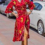 Женское летнее платье на запах ткань софт принт цепи и цветочный принт скл.1 арт.54789