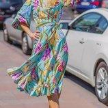 Женское летнее платье на запах ткань софт принт цепи и цветочный принт скл.1 арт.54788