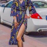 Женское летнее платье на запах ткань софт принт цепи и цветочный принт скл.1 арт.54787