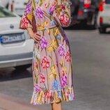 Женское летнее платье на запах ткань софт принт цепи и цветочный принт скл.1 арт.54786