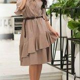 Женское натуральное льняное платье с воланом и открытыми плечами скл.1 арт. 54758