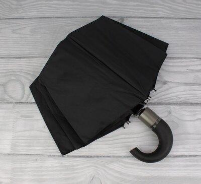 Качественный мужской складной зонт полуавтомат три слона 3557 с ручкой крюк