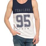 Белая мужская майка Lc Waikiki / Лс Вайкики с синей полосой и надписью Fearless 95 Crew
