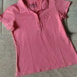 Розовая женская футболка поло, р. L