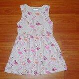 Белый сарафан,платье с фламинго,1,5-2 года, 92, 18-24 мес. Состояние отличное
