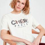 Белая женская футболка Lc Waikiki / Лс Вайкики с надписью Cheri Paris
