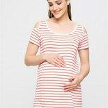 Белая женская футболка для беременных LC Waikiki / Лс Вайкики в красные полоски