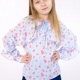 Блуза шифоновая с воланом и в сердечках 5083 Albero Размеры 128 -158