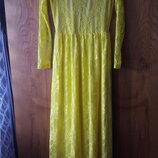 Платье желтое гипюр в пол с открытой спинкой