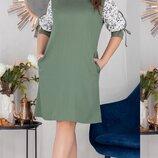 Платье XL прямого силуэта креп лёгкий софт принт синий олива пудра