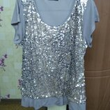 Симпатичная качественная футболка блуза в паетках So Fabulous р.24 Турция