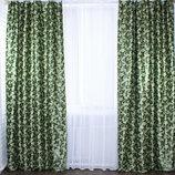 Комплект готовых штор. Цвет - зеленый.
