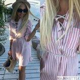 Платье рубашка со шнуровкой 42-44 размеры 2 цвета