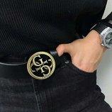 Кожаный ремень в стиле Guess унисекс, бляшка бронза матовое золото