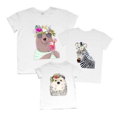 Комплект футболок Мишка, зебра, ёжик