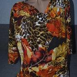 Яркая вискозная блузочка , футболочка , кофточка в оранжево - коричневых тонах
