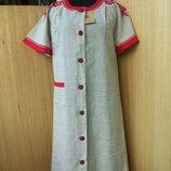 Платье халат рубашка лён с вышивкой