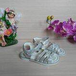 Босоножки открытые серебристые для девочки 26-31р