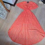 платье порэо на море XS новое кружево длинное корал H&M НМ