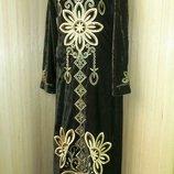 нарядное длинное платье велюр с вышивкой пайетками / абая / галабея