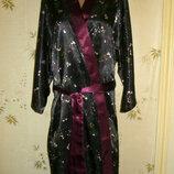 Женский атласный халат с цветочным принтом