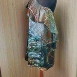 Платье шелк на одно плечо с баской