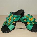 Шлепки кожаные женские зеленые 37,38,41 р AVANA арт 2322