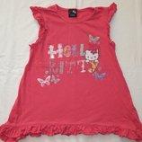 Трикотажное розовое платье George с Hello Kitty. На девочку 8-9 лет. Рост 128-134 см.