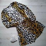 Платье на пуговках на запах принт леопард р. 20-22 наш 56
