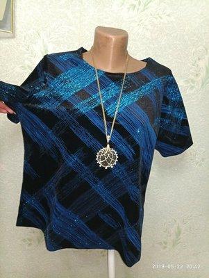 Красивенная бархатистая очень нарядная кофточка блуза с блестком, люрексом р.16 46-48-50