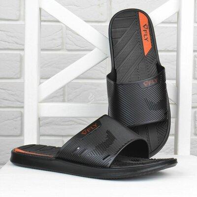 Шлепанцы мужские Fly Форсаж влагостойкие облегченные черные с оранжевым