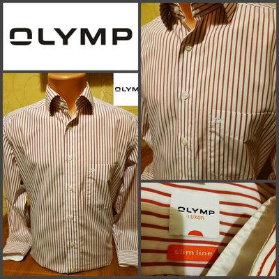 Изумительная рубашка из натуральной ткани немецкой торговой марки Olymp, оригинал, р.М, ворот 39
