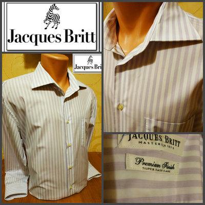 Очень качественная рубашка в полоску сиреневого цвета Jacques Brit, оригинал, р.XL, ворот 44