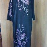 длинное платье вышива пайетками / абая / галабея xl