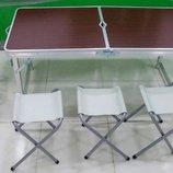 Раскладной стол со стульями для пикника Folding Table 120 70 60 см.