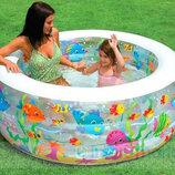 Бассейн надувной 58480 Аквариум Intex Интекс . Надувний дитячий басейн з надувним дном.