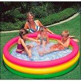 Детский надувной Бассейн 57422 Круг Intex Интекс . Дитячий надувний басейнз надувним дном.