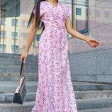 женское длинное платье на запах розовое и синее 1165